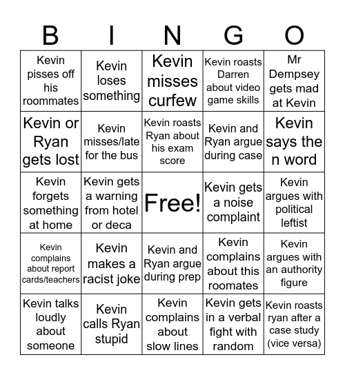 DECA! Bingo Card