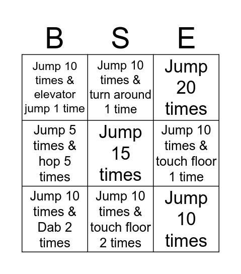 Jump Rope Tic Tac Toe Bingo Card
