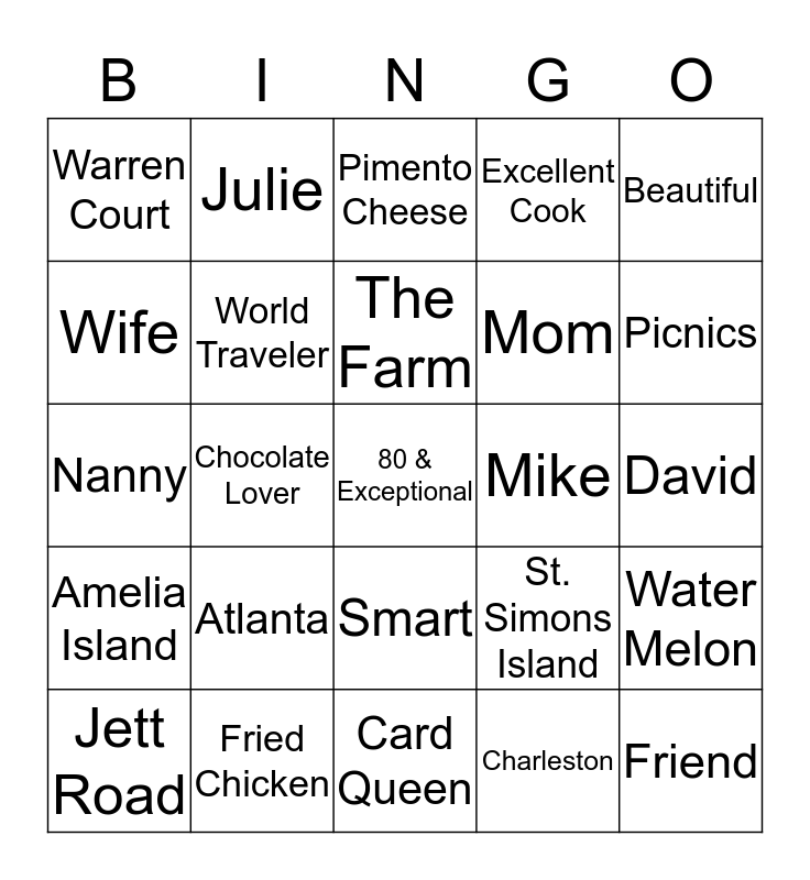 Nanny's 80th Birthday Bingo Card
