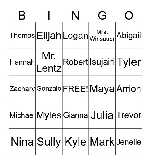 Mrs. Winsauer's 4th Grade Bingo Card