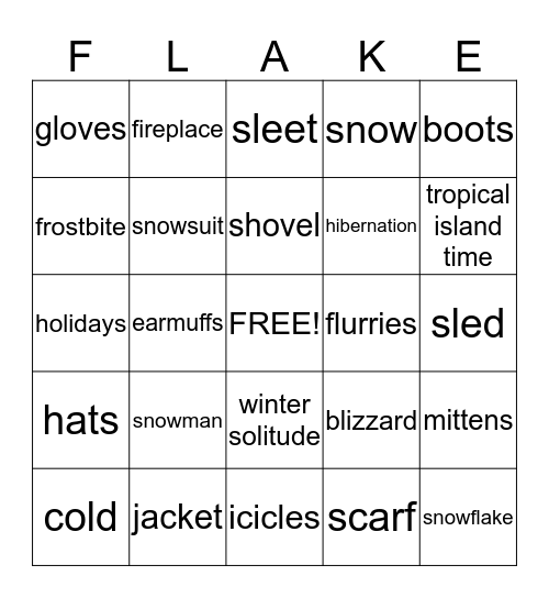 **SNOW** Bingo Card