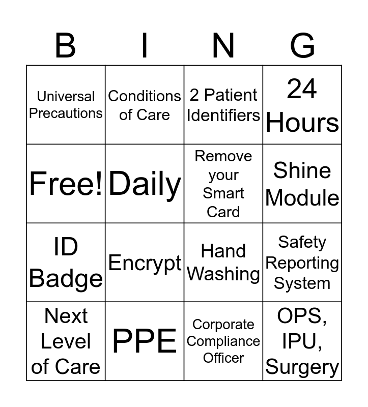 Joint Commission Bingo  Bingo Card