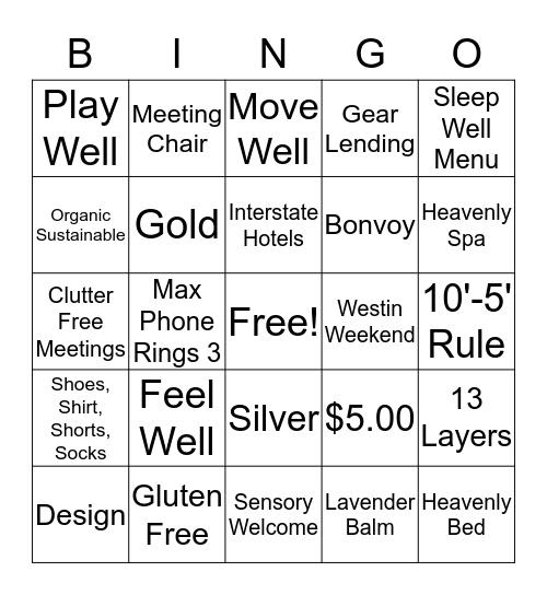Westin Bingo Card