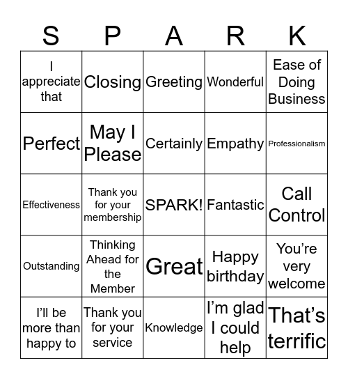 SPARK Bingo Card