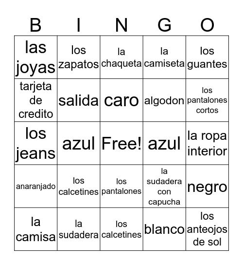 Las compras y la ropa  Bingo Card