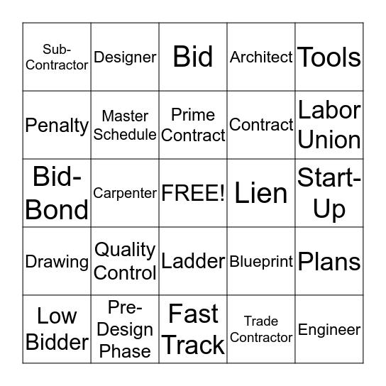 Construction Trades Bingo Card