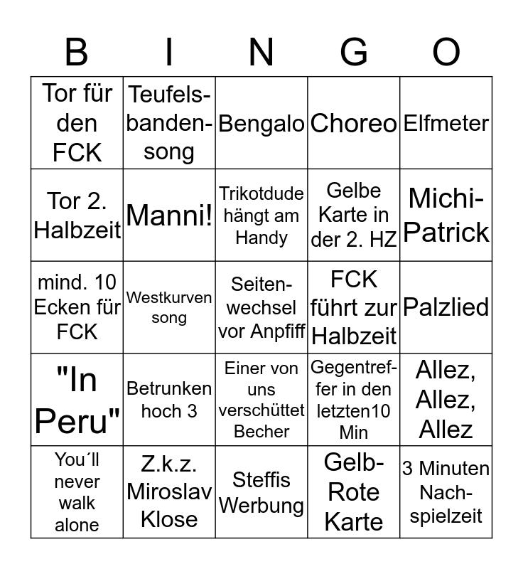 FCK Bingo Card