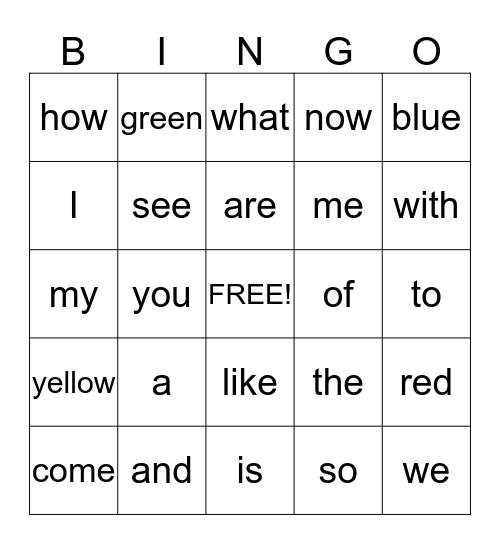Sight Word Unit 1-4 Bingo Card