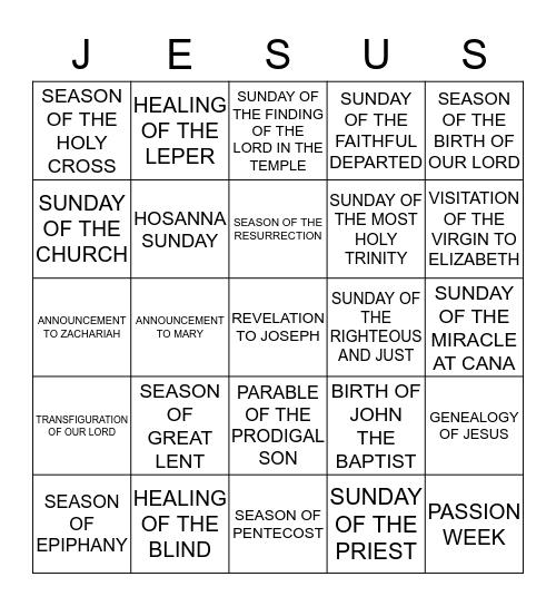 Maronite Liturgical Calendar  Bingo Card