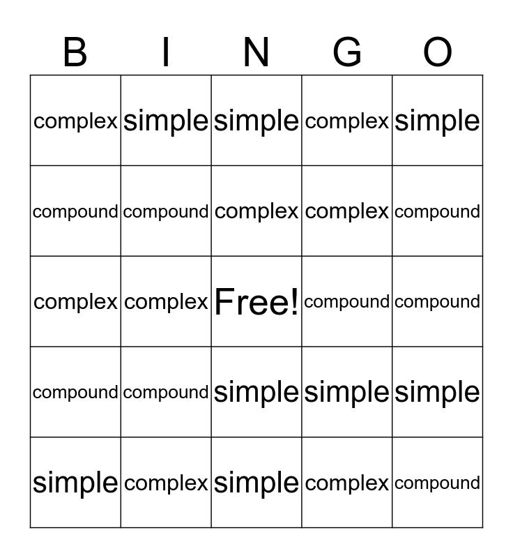 Sentences Bingo Card