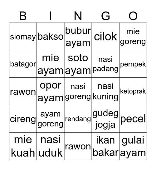 Bingo with Paribans Bingo Card