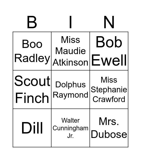 Motivation in To Kill a Mockingbird Bingo Card