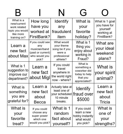 Get to Know you!! Bingo Card