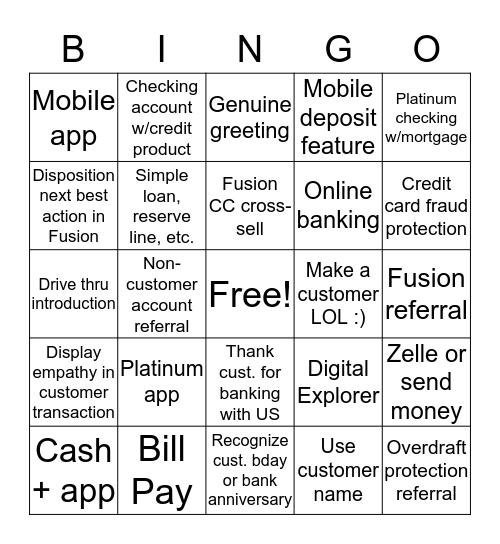 Sales & Service Bingo  Bingo Card