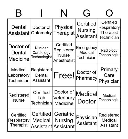 Healthcare Careers Abbreviatons Bingo Card