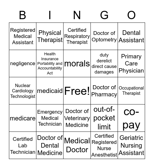 Career Abbrev. , Legal & Health Insurance Bingo Card