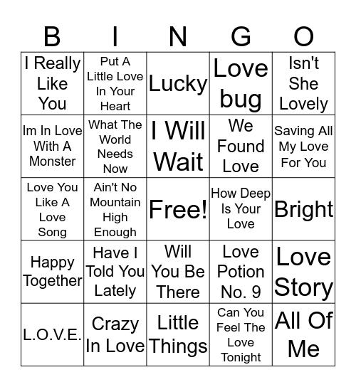 Valentine's Bingo Card