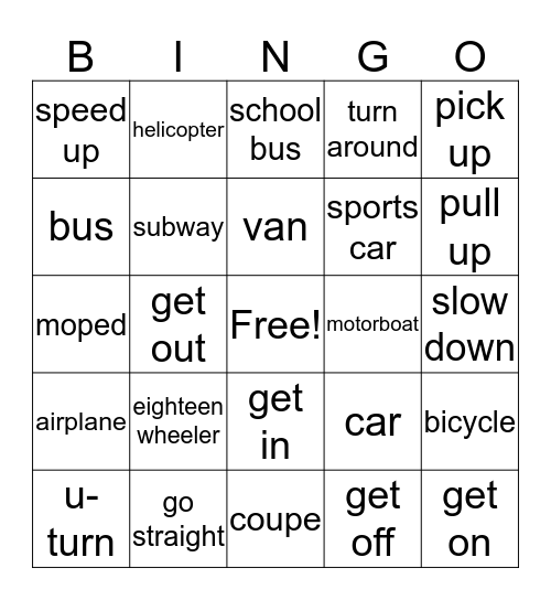 Transportation Bingo Card