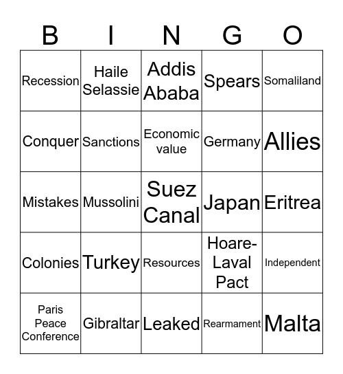 Abyssinia Bingo Card