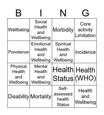 Health and Wellbeing Bingo Card