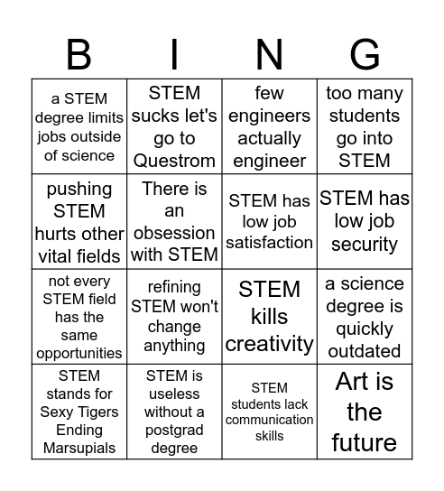 Arguments Against STEM - Mark squares with arguments you agree with - Four in a row? Maybe you should switch majors. Bingo Card