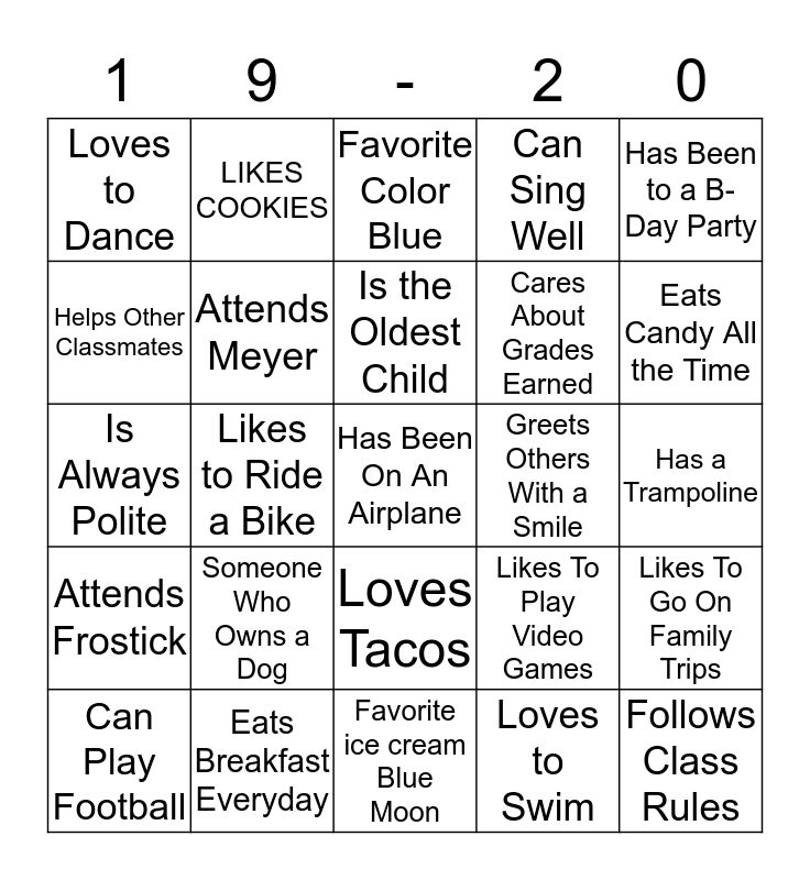 Getting To Know You at CLMS Bingo Card