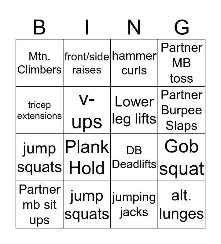 V-Day Challenge Bingo Card