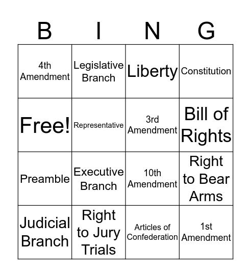 Constitution/Bill of Rights Bingo Card