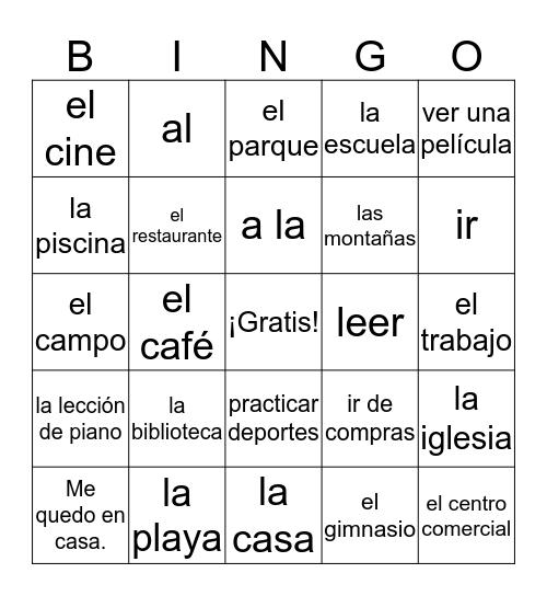 Los lugares/las actividades Bingo Card