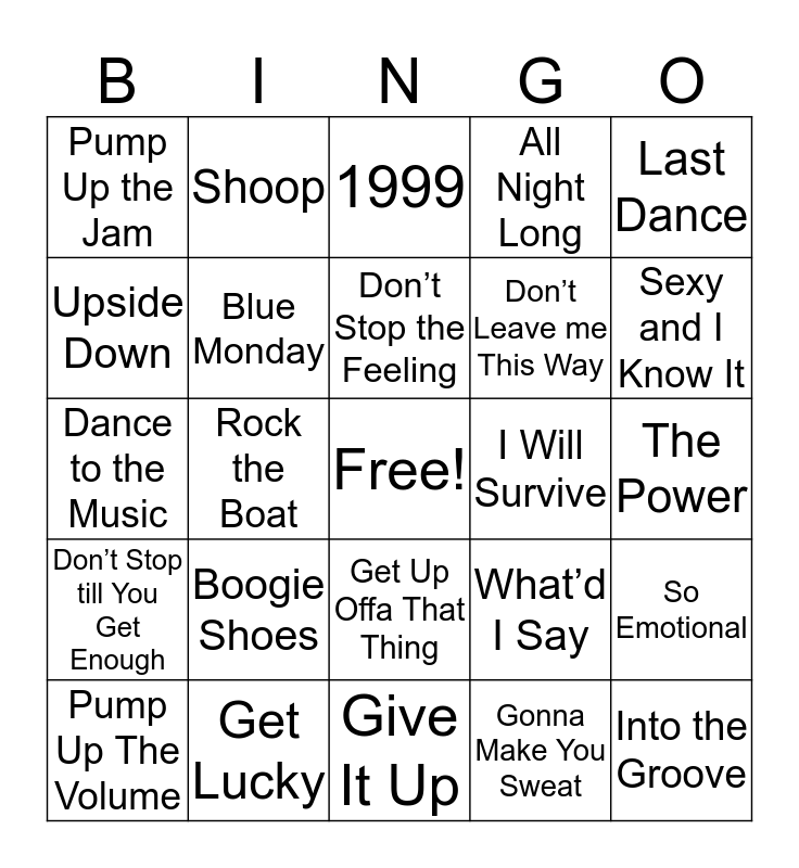 Dance Bingo Card