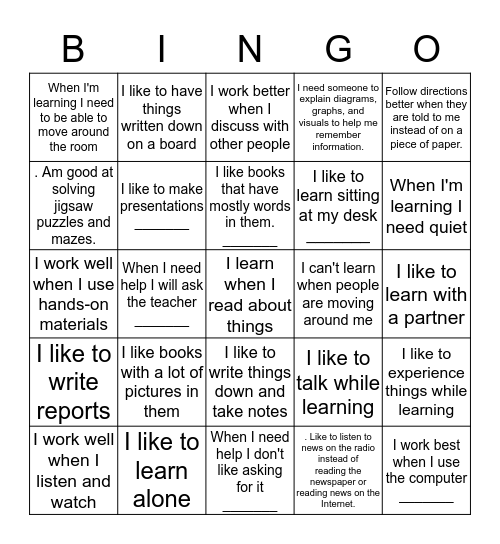 What is your learning style? Bingo Card