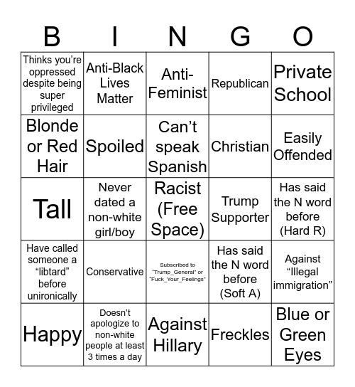 Grandpa Joe's White People BINGO (If You Get Bingo Repub So I Can Block You) Bingo Card