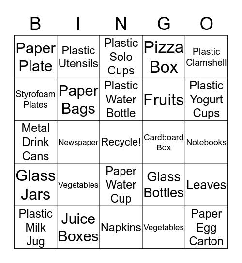 Recycling Bingo! Bingo Card