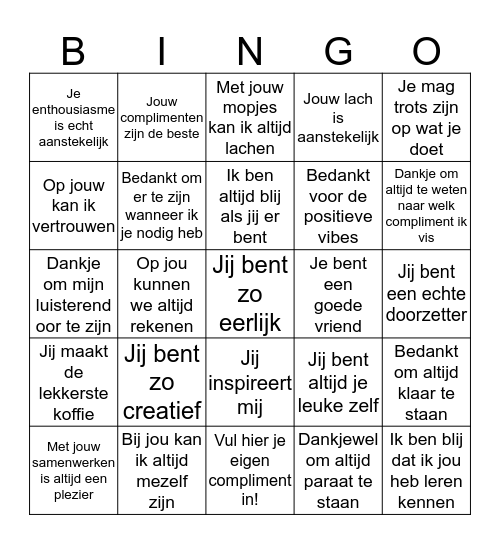 Complimentendag Bingo Card