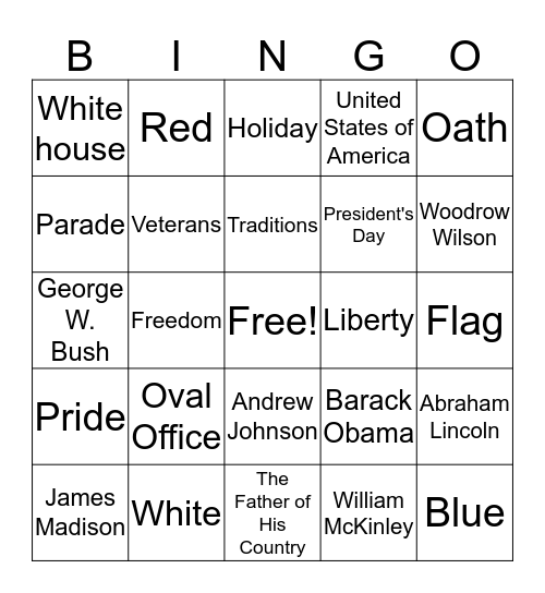 President's Day Bingo Card