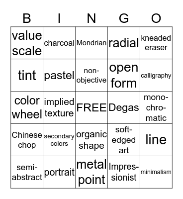 Elements-Principles-Art Genres-Drawing Materials Bingo Card
