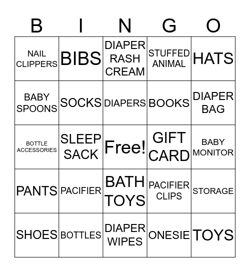 BABY BAILEY'S GIFTS Bingo Card