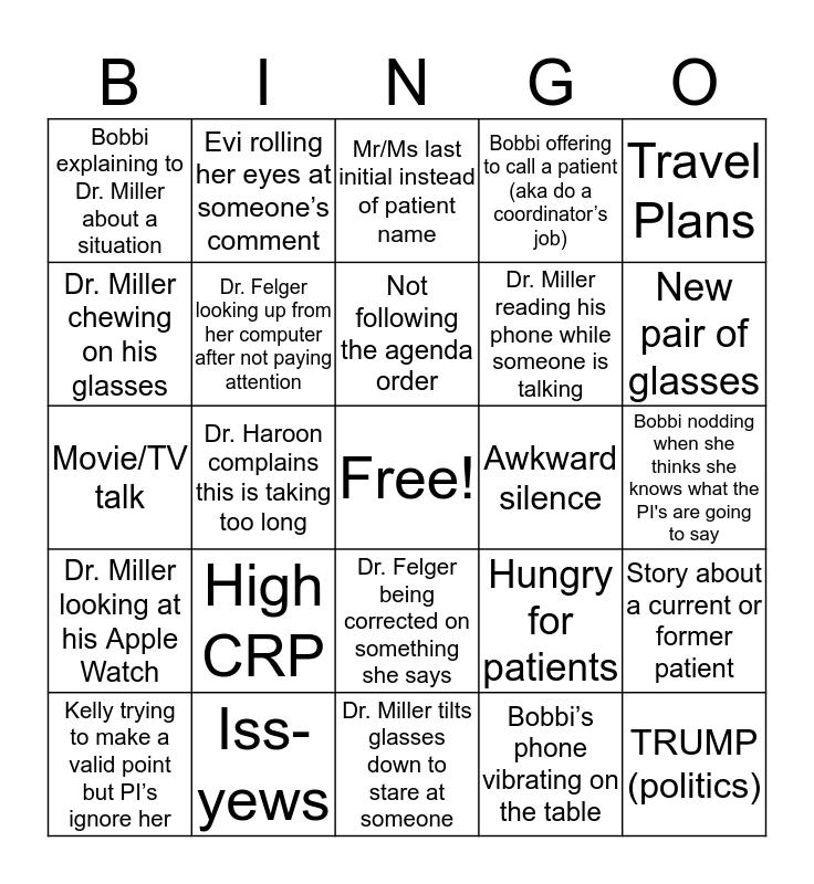 TEETH Bingo Card
