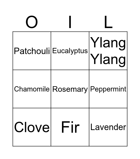 Essential Oil Bingo Card