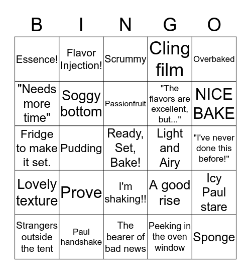 Great British Baking Show Bingo! Bingo Card
