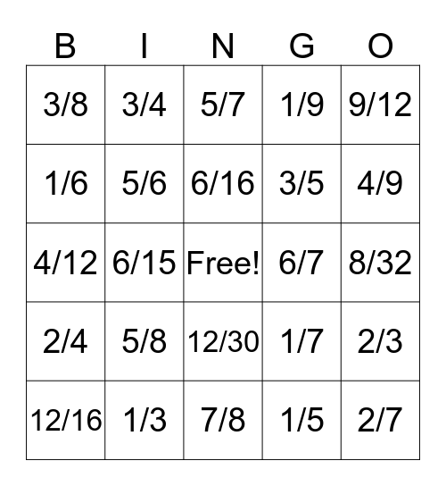 Simplest Form of Fractions Bingo Card