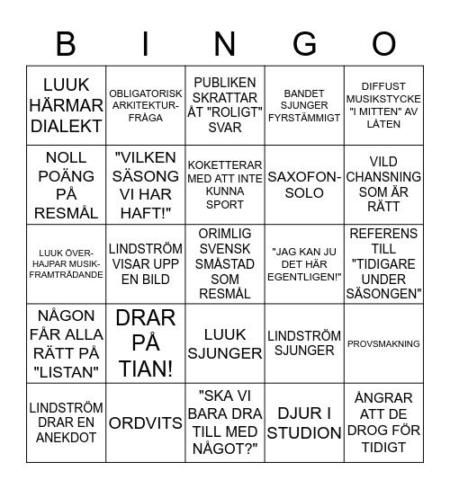 PÅ SPÅRET-BINGO Card