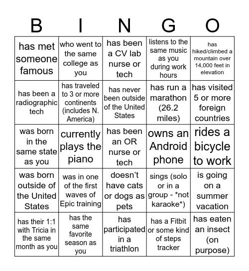 Find a teammate who Bingo Card