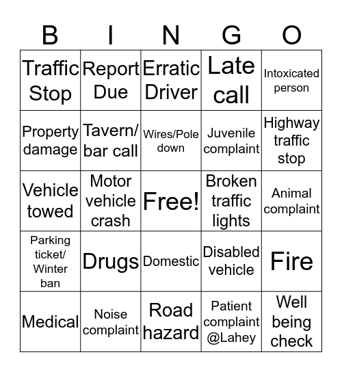 Midnight Shift Bingo Card