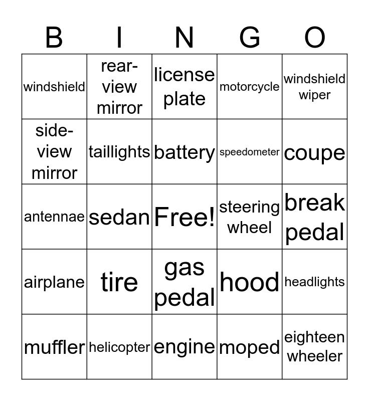 Car Parts Bingo Card