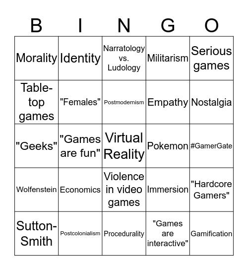 GAME STUDIES CONFERENCE BINGO Card