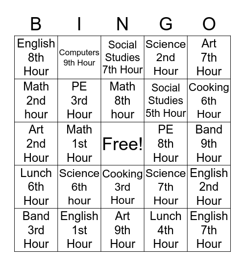 Class Schedule Bingo Card
