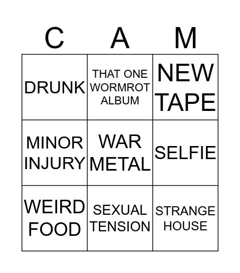 CAMZO Bingo Card