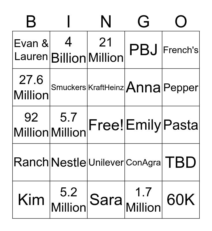 Grocery Team Bingo Card