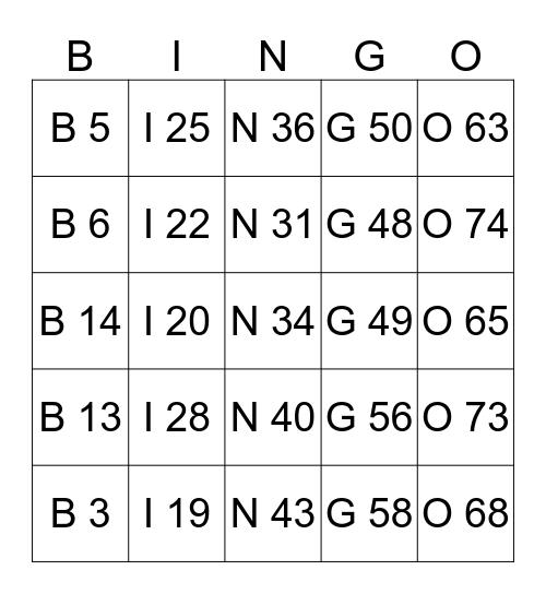 Practice007 Bingo Card